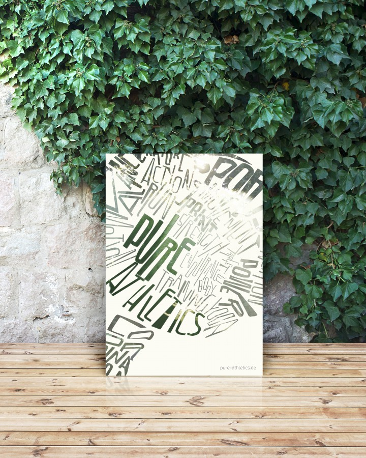 White poster on wooden table with wall of leafs.; Shutterstock ID 239680297